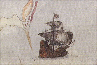Painting thought to be the Tyger, the vessel in which Sir Richard Grenville voyaged to the Americas